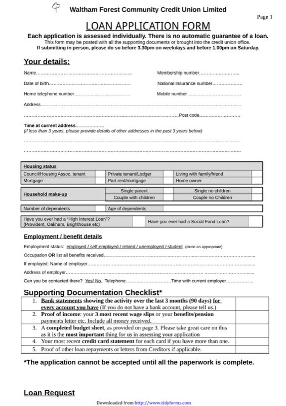 Loan Application Form Templates  Free Templates In Doc Ppt Pdf  Xls