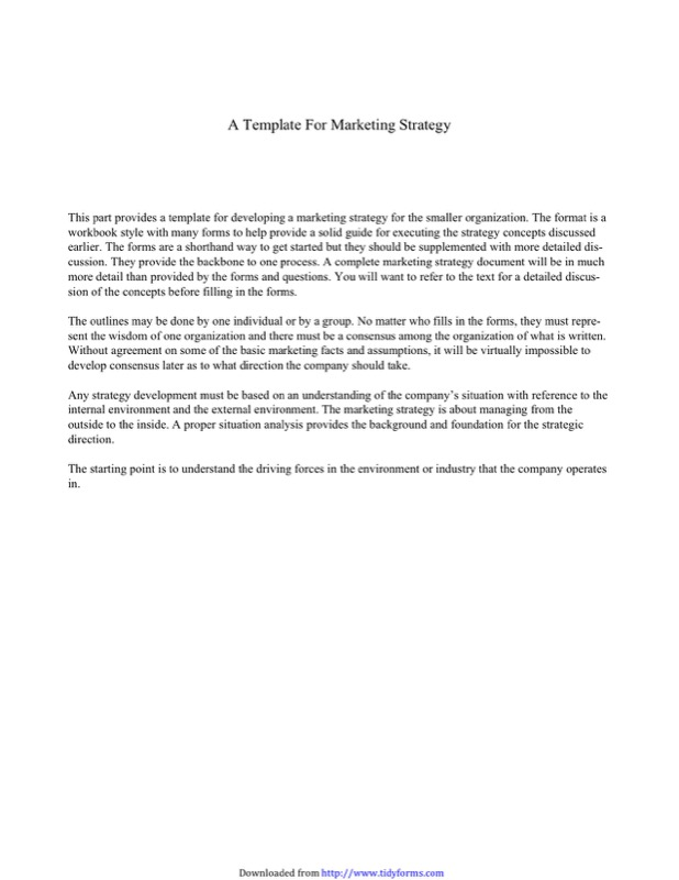 A Template For Marketing Strategy  Marketing Analysis Template