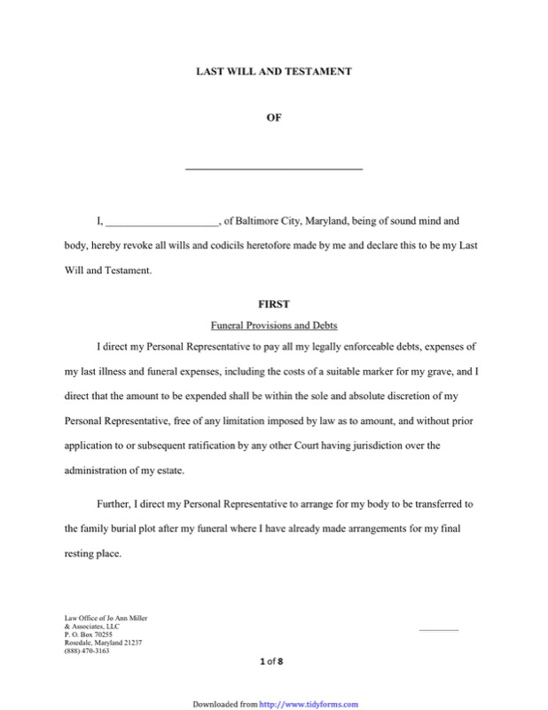 Maryland Last Will And Testament Form  Free Templates In Doc Ppt