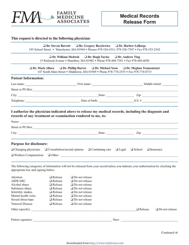 Massachusetts Medical Records Release Form  Free Templates In Doc