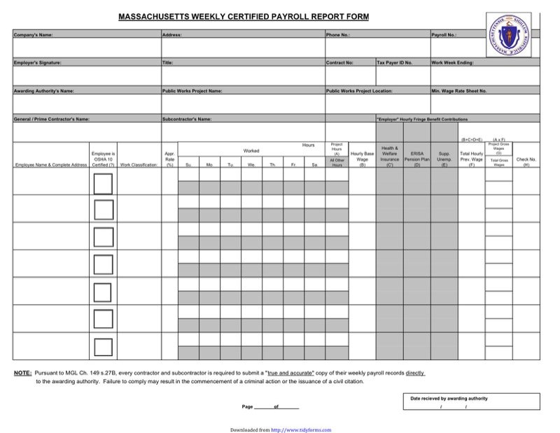 Massachusetts Certified Payroll Form  Free Templates In Doc Ppt