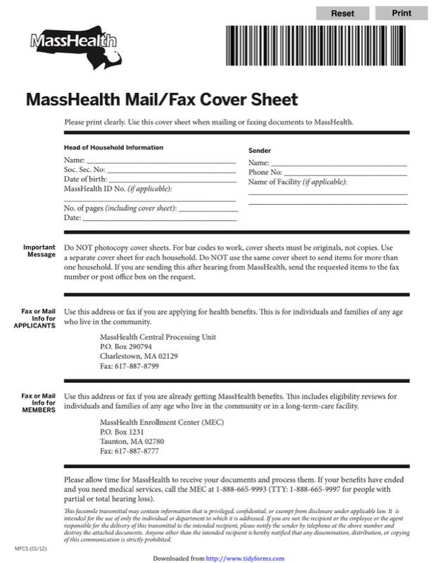 Masshealth Fax Cover Sheet Templates  Free Templates In Doc Ppt