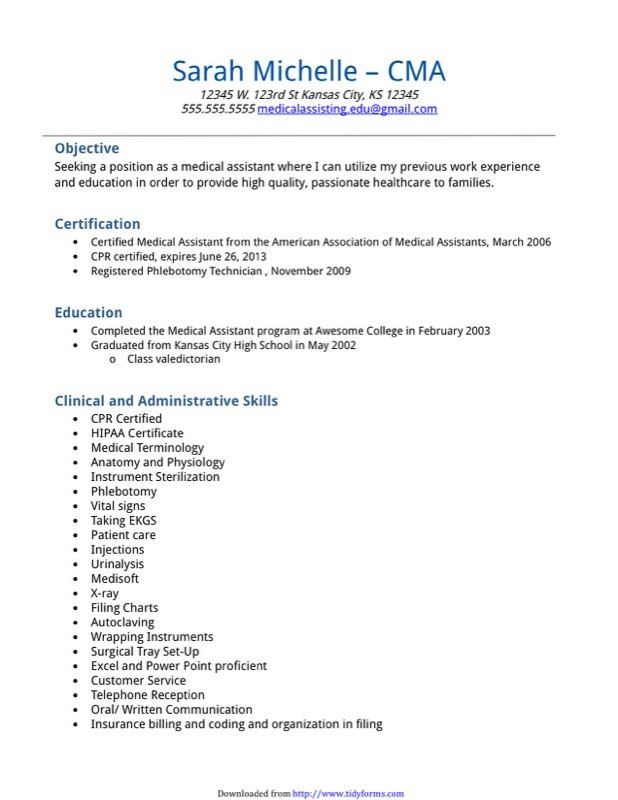 Medical Assistant Resume Sample Templates  Free Templates In Doc