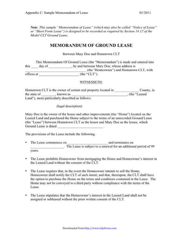 Memorandum Of Lease Agreement Templates  Free Templates In Doc Ppt