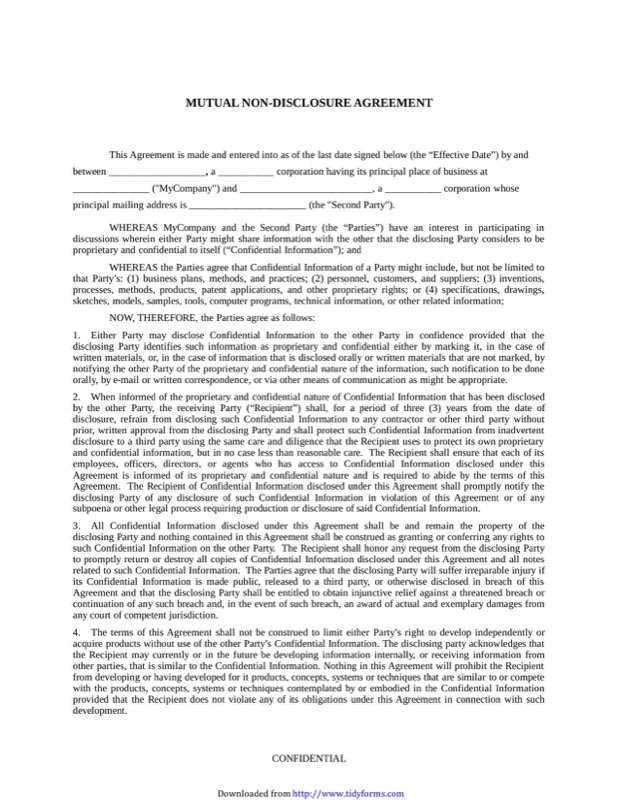 NonDisclosure Agreement Template  Free Templates In Doc Ppt Pdf