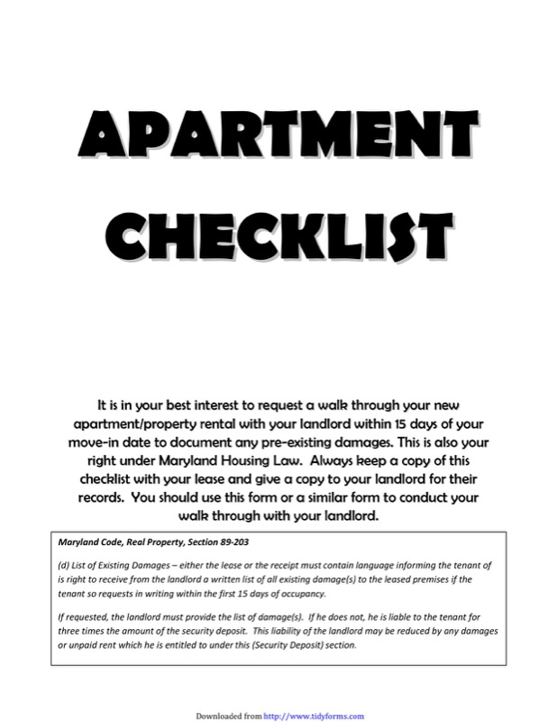 New Apartment Checklist Templates  Free Templates In Doc Ppt Pdf