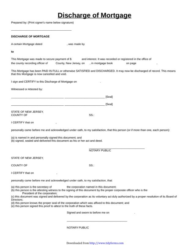 New Jersey Satisfaction Of Mortgage Form  Free Templates In Doc