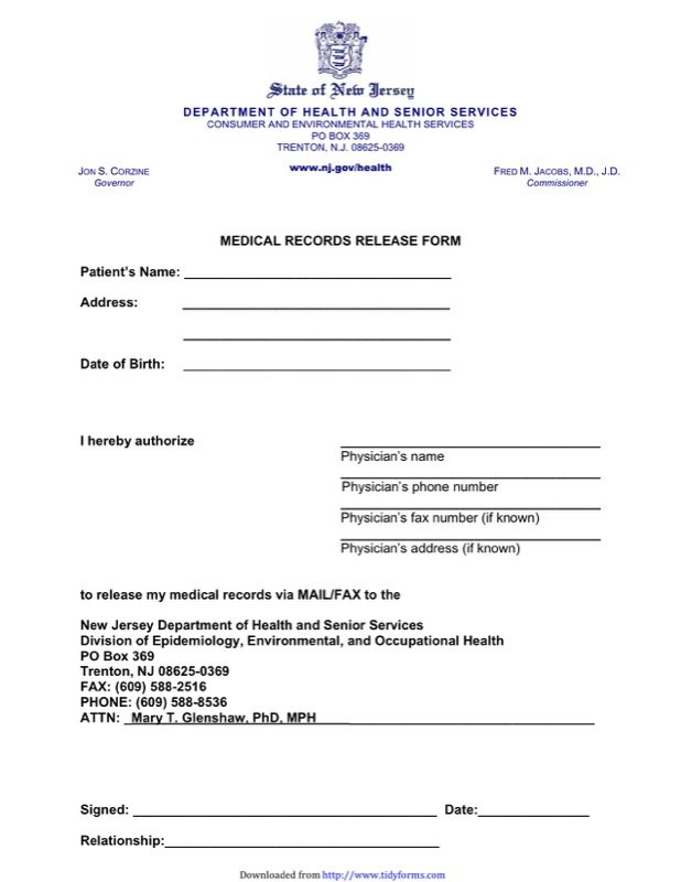 Medical Records Release Form  Medical Record Form Template
