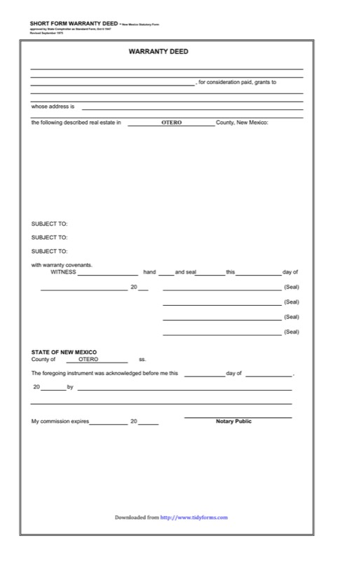 Download Florida Warranty Deed Form For Free  Tidyform