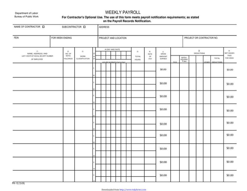 New York Certified Payroll Form  Free Templates In Doc Ppt Pdf  Xls