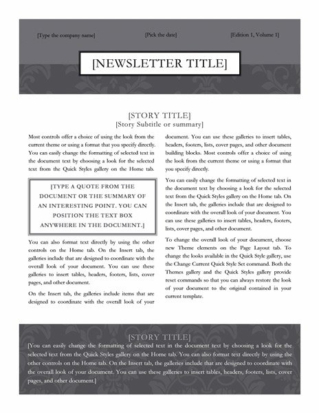 Newsletter (Black Tie design)