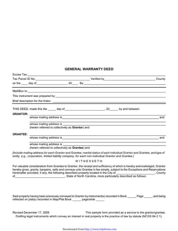 North Carolina Warranty Deed Form  Free Templates In Doc Ppt Pdf