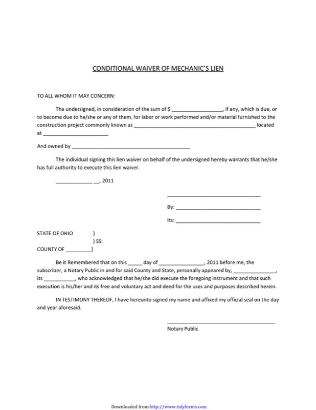 Ohio Lien Release Form  Free Templates In Doc Ppt Pdf  Xls