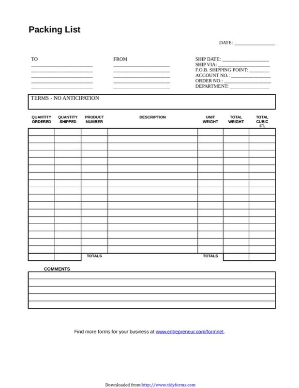 Packing List Template  Free Templates In Doc Ppt Pdf  Xls