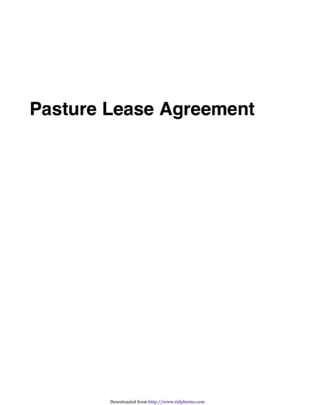Pasture Lease Agreement
