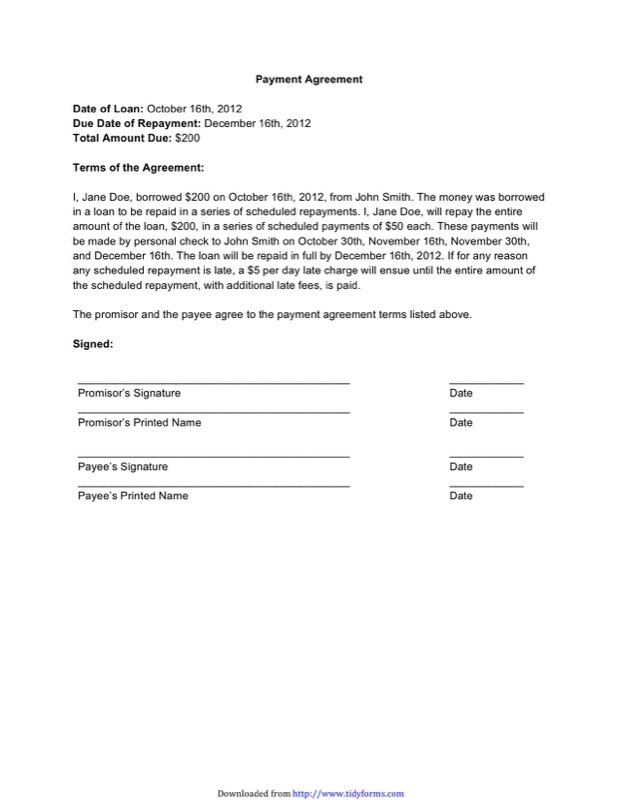 Payment Agreement Contract Templates  Free Templates In Doc Ppt