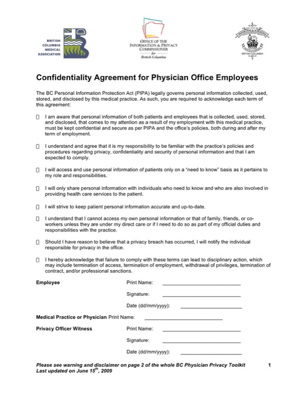 Personal Confidentiality Agreement For Physician
