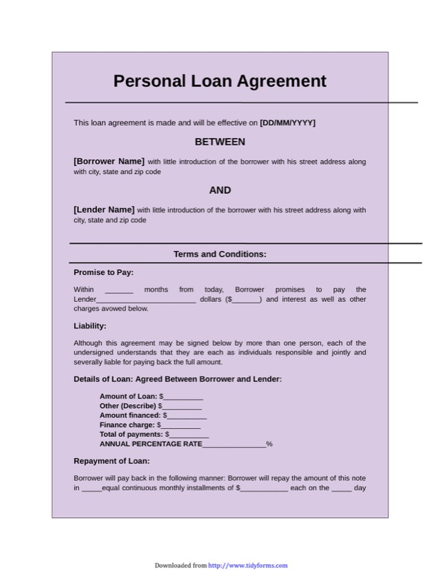 Simple Loan Agreement  Personal Loan Contract Sample