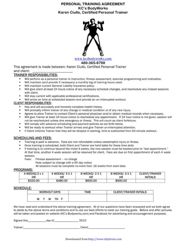 Personal Training Contract Sample Templates  Free Templates In Doc