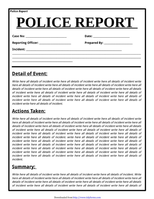 Police Report Template  Free Templates In Doc Ppt Pdf  Xls