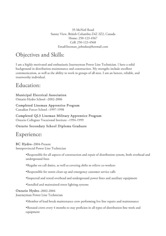 Lineman Resume Templates  Lineman Resume