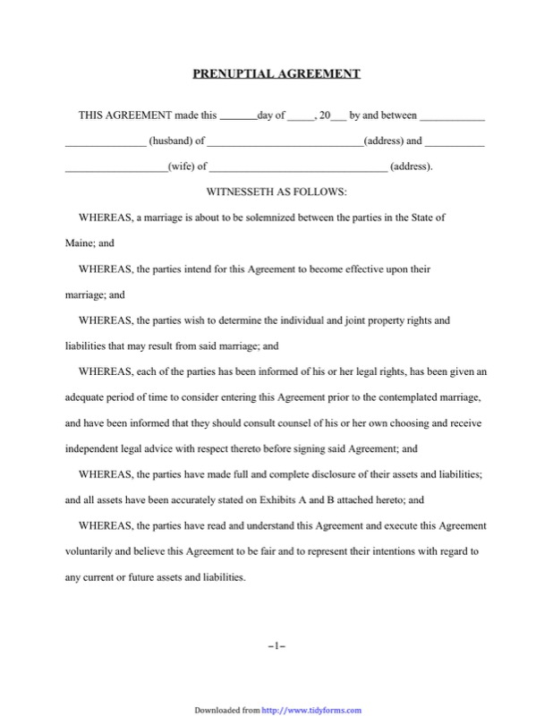 Prenuptial Agreement Form Templates  Free Templates In Doc Ppt