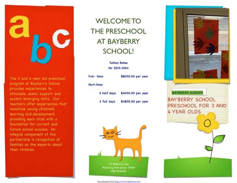Preschool Brochure Templates  Free Templates In Doc Ppt Pdf  Xls