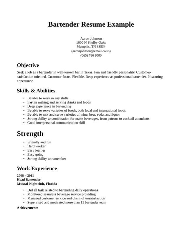 Bartender Resume Templates  Free Templates In Doc Ppt Pdf  Xls