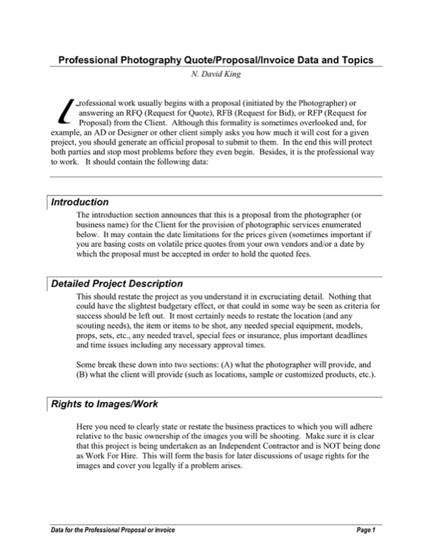 Professional Photography Proposal  Professional Proposal Templates
