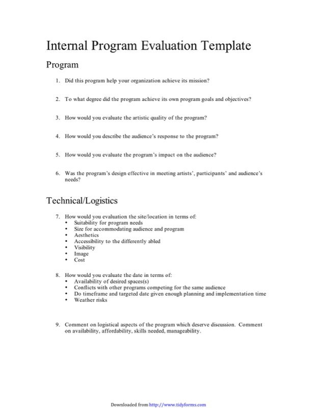 Program Evaluation Templates  Free Templates In Doc Ppt Pdf  Xls