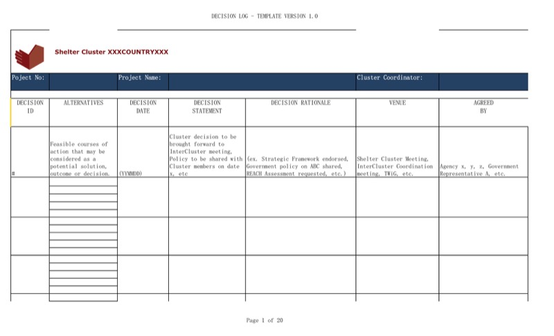 Wonderful Project Decision Log Template