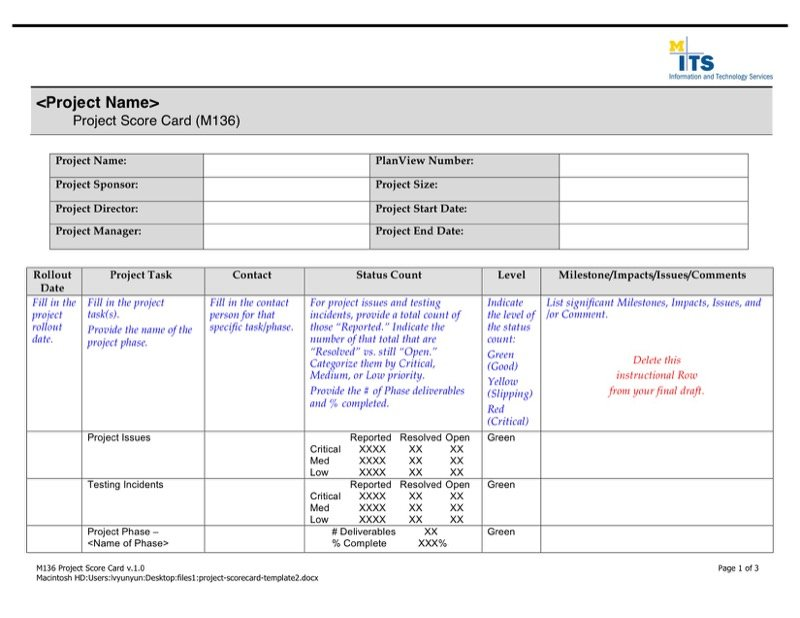 Project Scorecard Templates  Free Templates In Doc Ppt Pdf  Xls