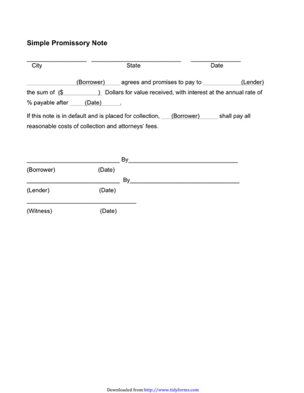 Promissory Notes Templates  Free Promissory Note Templates