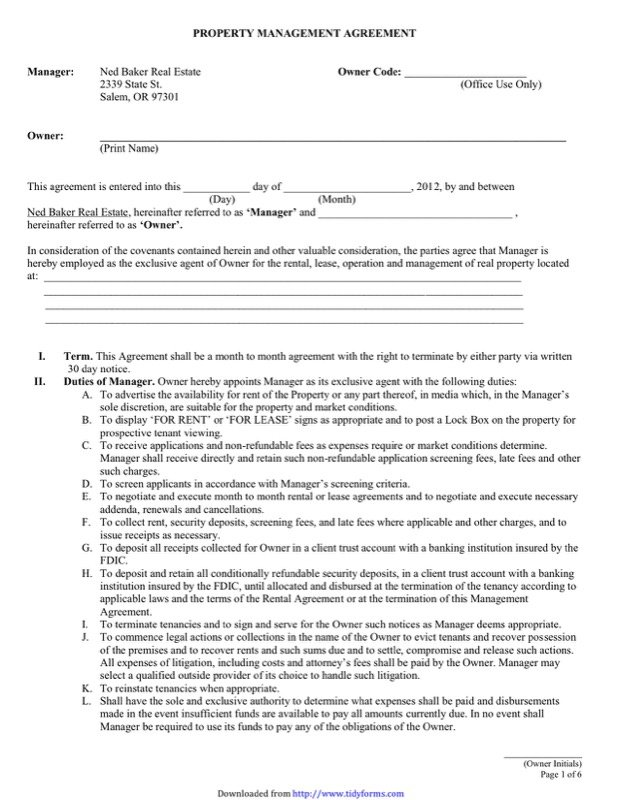 Property Management Agreement Templates  Free Templates In Doc Ppt
