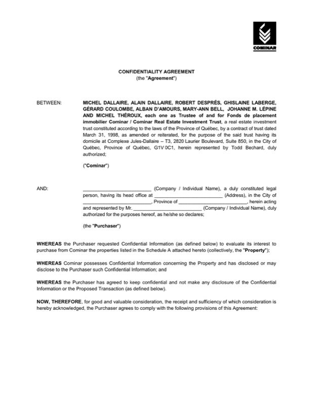 Download Real Estate Confidentiality Agreement For Agent Sample For