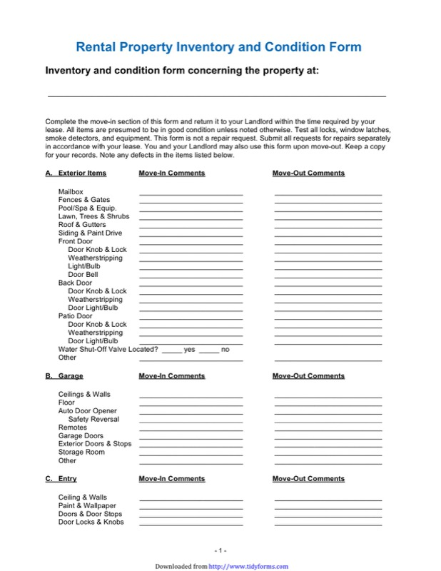 Landlord Inventory Template  Free Templates In Doc Ppt Pdf  Xls