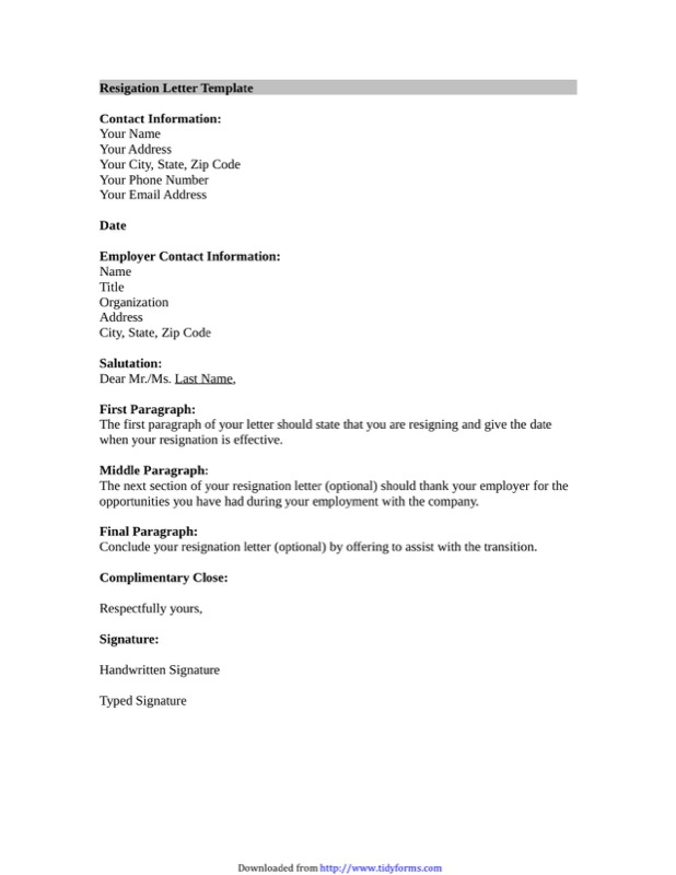 Letter Of Resignation Template Microsoft
