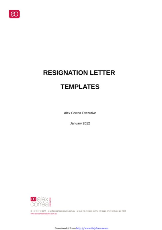 Free Letter Of Resignation Template Word  Letter Of Resignation Template Word Free