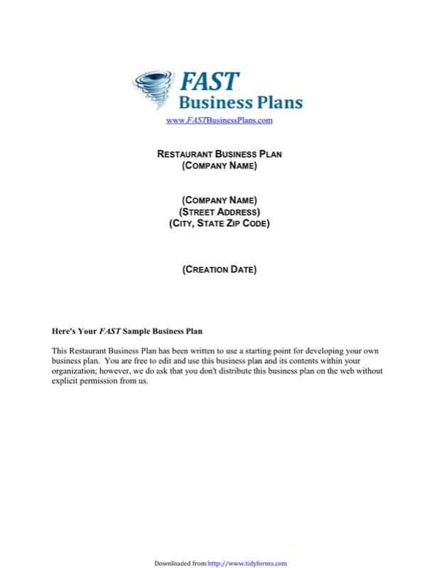 Restaurant Business Plan Template  Free Templates In Doc Ppt Pdf