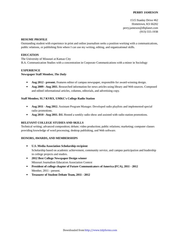 College Resume Template  Free Templates In Doc Ppt Pdf  Xls