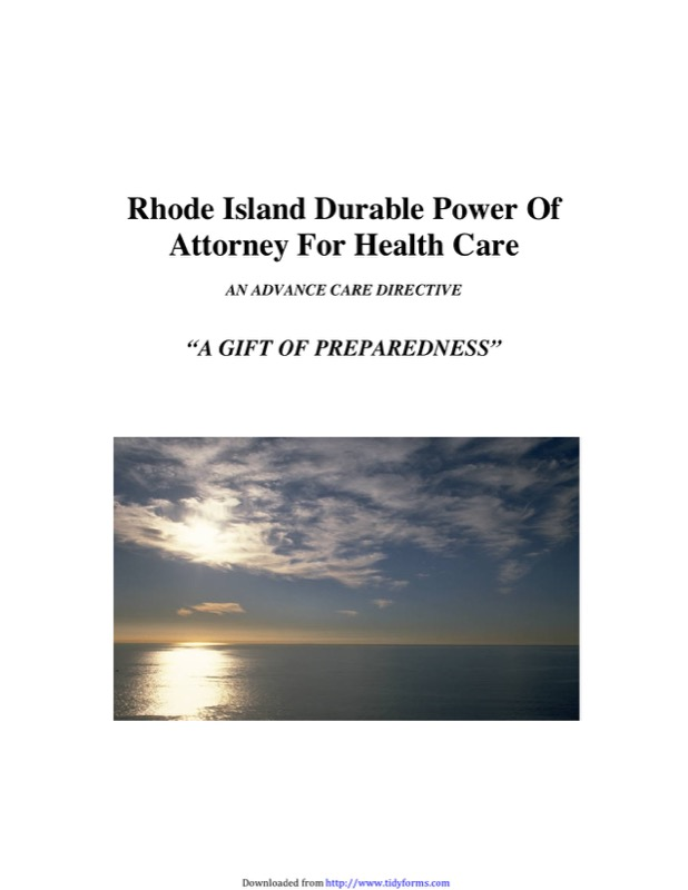 Rhode Island Health Care Power of Attorney Form