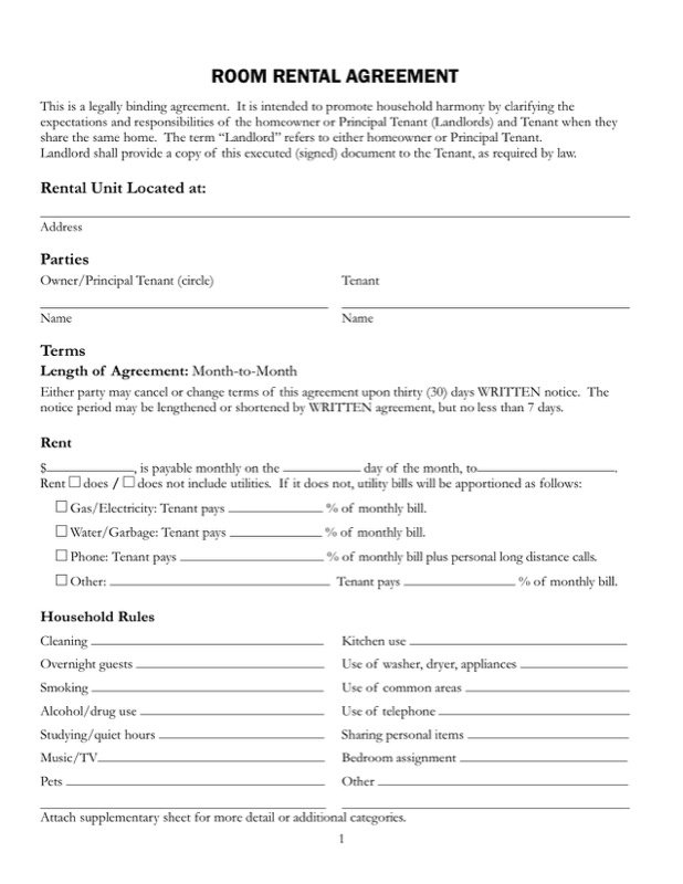 House Rental Agreement  Free Room Rental Lease Agreement Template