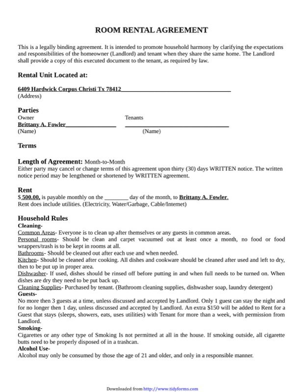Room Rental Agreement Templates  Free Templates In Doc Ppt Pdf  Xls