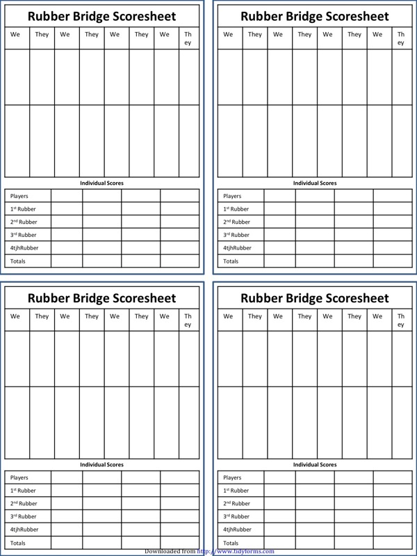 Bridge Score Sheet Templates  Free Templates In Doc Ppt Pdf  Xls
