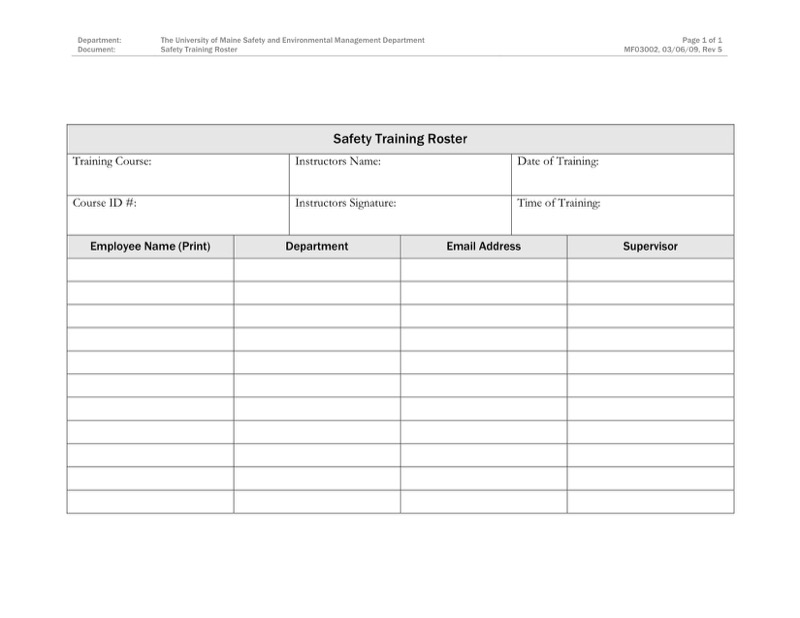 Training Roster Templates  Free Templates In Doc Ppt Pdf  Xls
