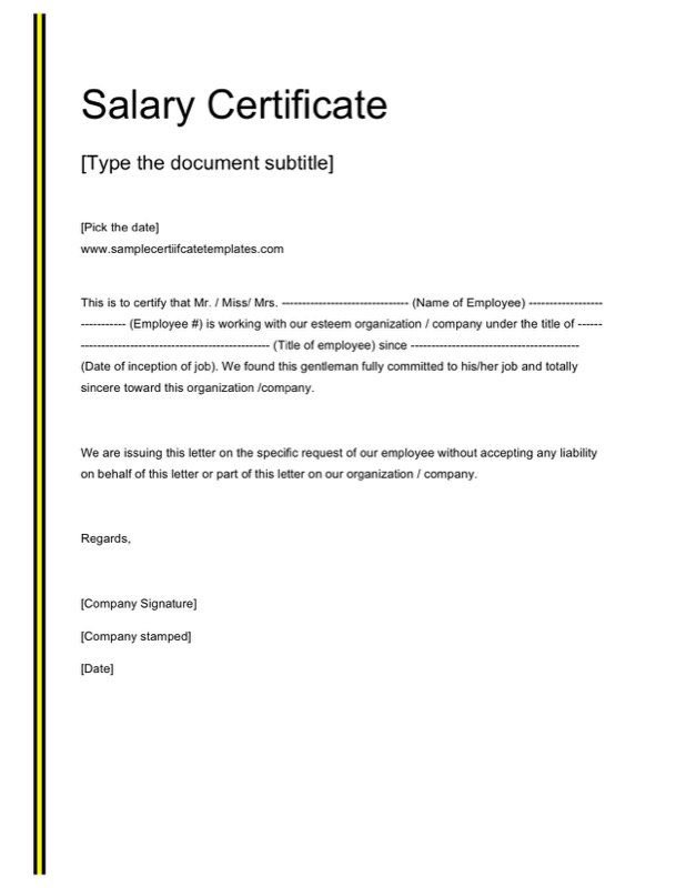 Salary Certificate Template Doc Free Download