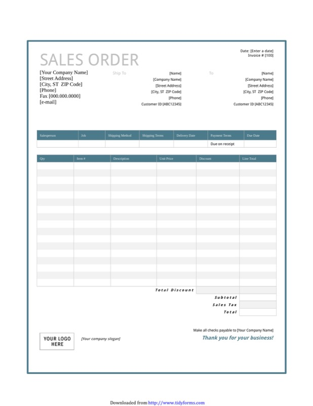 Sales Order Template  Free Templates In Doc Ppt Pdf  Xls