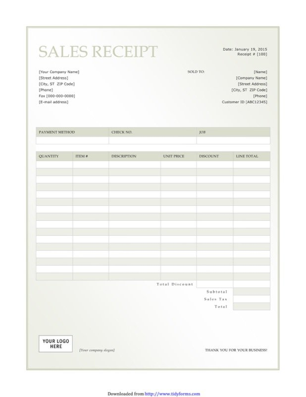 Customer Receipt Template  Customer Receipt Template