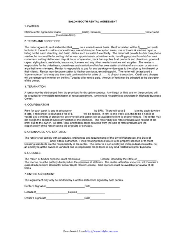 Booth Rental Agreement Templates  Free Templates In Doc Ppt Pdf  Xls
