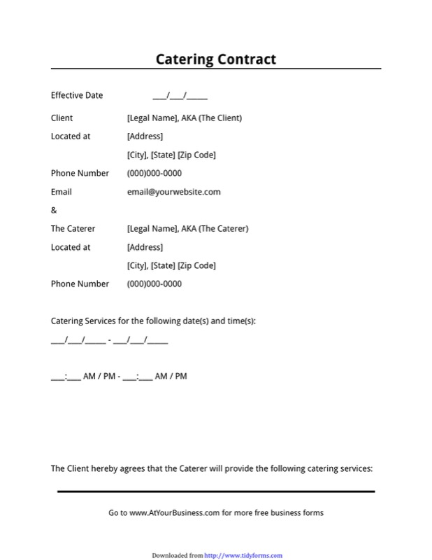 Catering Contract Template  Free Templates In Doc Ppt Pdf  Xls